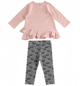 Costum fată, din 2 piese, bluză și colant din bumbac, iDO