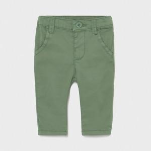 Pantaloni din tercot verde de bebe baiat Mayoral