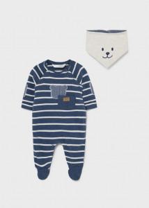 Pijama ECOFRIENDS cu bavetică și ursuleț, pentru bebe băiat, Mayoral