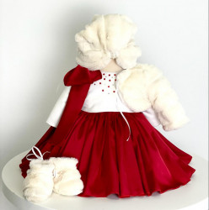 Rochie de botez cu mătase roșie