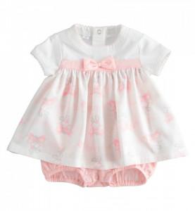 Salopetă gen rochiță din bumbac pentru bebelușă, Ido