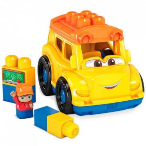 Set constructie Fisher Price Mega Blocks Autobuz scolar cu 6 piese