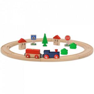 Set din lemn Eichhorn Tren albastru cu sina circulara si accesorii
