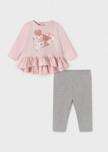 Set ECOFRIENDS leggings cu floricele pentru bebe fată, Mayoral