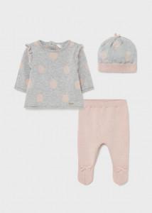 Set ECOFRIENDS, pantaloni cu botoșei și căciuliță nou-născut fată, Mayoral