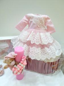 Set trusou roz cu dantelă ivoire, pentru botez de fetiță