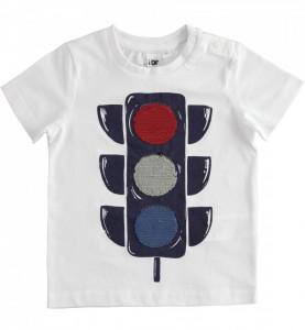 Tricou alb cu paiete reversibile semafor din bumbac IDO
