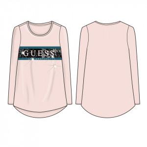 Tricou cu mânecă lungă roz din bumbac și cu stasuri, Guess
