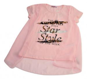 Tricou fete roz cu vual
