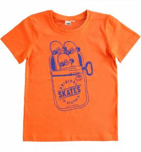 Tricou portocaliu cu maneca scurta din bumbac IDO