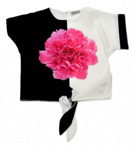 Bluza alb cu negru cu bujor