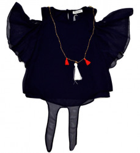 Bluza bleumarin cu manecuta fluturas
