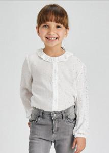 Bluză cu imprimeu și cu volănaș la guler pentru fată, Mayoral