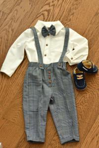 Costum cu pantalon in carouri cu gri si albastru regal 4 piese