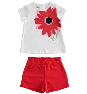 Costum din bumbac pentru fată, cu tricou și pantalon scurt roșu, IDO