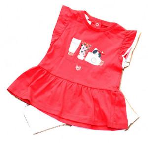 Costum pentu fetita , Ido , bumbac , rosu