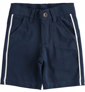 Pantaloni scurti din bumbac bleumarin cu dunga alba IDO