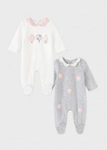 Pijama ECOFRIENDS cu guler volănaș pentru nou-născut fată, Mayoral