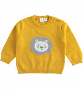 Pulovar galben bebe baiat nou nascut IDO tricotat
