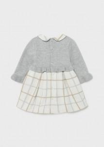 Rochie tricot combinată cu fundiță în talie, nou-născut fată, Mayoral