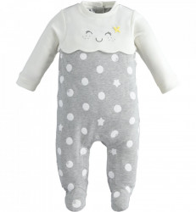 Salopeta bebe fetita gri cu alb IDO