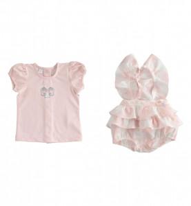 Salopetă cu bretele și tricou, roz cu alb, iDO