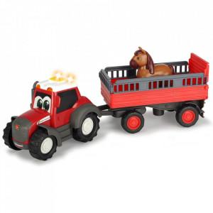 Tractor Dickie Toys Happy Ferguson Animal Trailer cu remorca si figurina cal