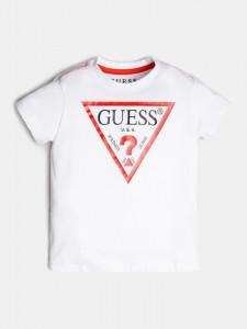 Tricou alb Guess cu logo rosu pe piept