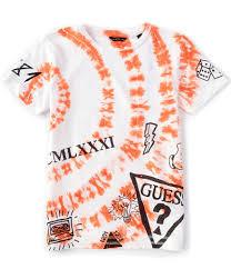 Tricou de baiat cu alb si portocaliu de baieti GUESS
