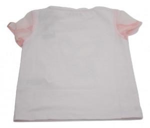 Tricou Guess alb cu manecute roz