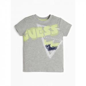 Tricou GUess gri cu scris verde