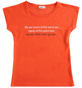 Tricou portocaliu cu scris alb negru Ido