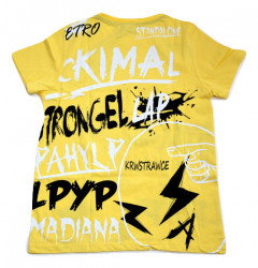 Tricouri de baieti, galbene, cu text