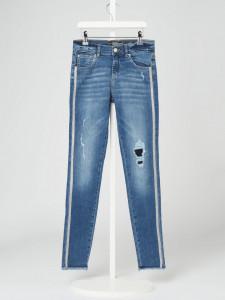 Blue Jeans de fata cu strasuri pe laterală, GUESS