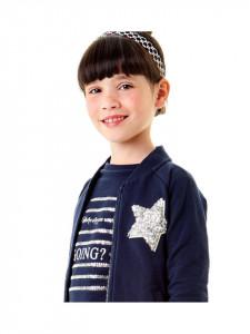 Bluza de fata din bumbac bleumarin cu alb IDO