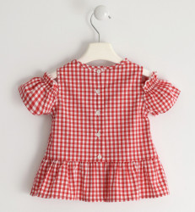 Bluză fete în carouri, alb și roșu