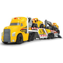 Camion Dickie Toys Mack Volvo Heavy Loader Truck cu remorca, buldozer si camion basculant