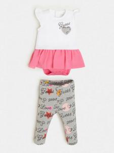 Costum de bebe fetita din bumbac Guess