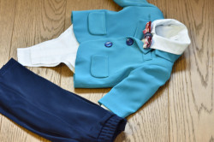 Costum de botez cu sacou albastru in 5 piese de baiat