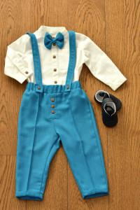 Costum pentru botez și evenimente, cu pantalon turcoaz, 4 piese