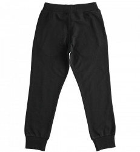 Pantalon baiat din bumbac negru cu manseta IDO