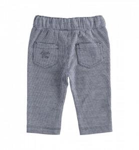 Pantalon băiat nou născut, alb cu bleumarin, IDO
