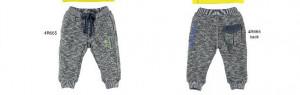 Pantaloni grosi de baiat in contrast alb cu bleumarin