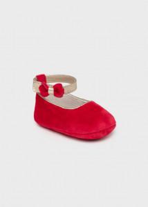 Pantofi roșii din catifea pentru nou-născut fată, Mayoral