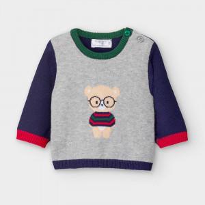 Pulovat tricotat din bumbac pentru nou nascuti baieti Mayoral