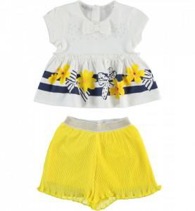 Set bluziță albă cu volănaș și pantalon galben, Sarabanda