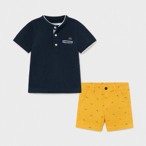 Set de baiat cu tricou si pantalon scurt galben Mayoral