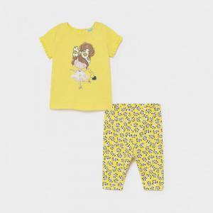 Set de fetite tricou si colant de bumbac galben Mayoral