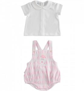 Set de nou nascut fetita cu salopeta si bluzita IDO