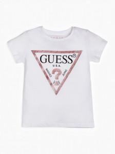 Tricou Guess alb cu logo roz
